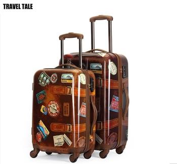 20,24 brand new British style pc material retro suitcase retro valiz vintage Rolling Luggage circle