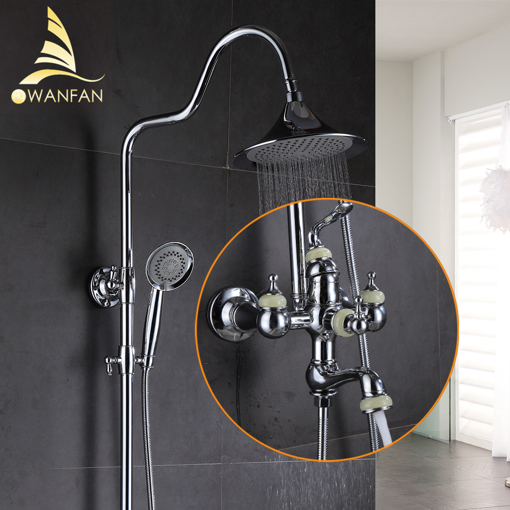 Shower Faucet Brass Chrome Wall Mounted Bathtub Faucet Rain Shower Head Round Handheld Slide Bar Bathroom Mixer Tap Set 877011 bathtub faucets antique brass bath rain shower faucet head and handheld shower faucet 2 handel bathroom wall mounted tap lj10119