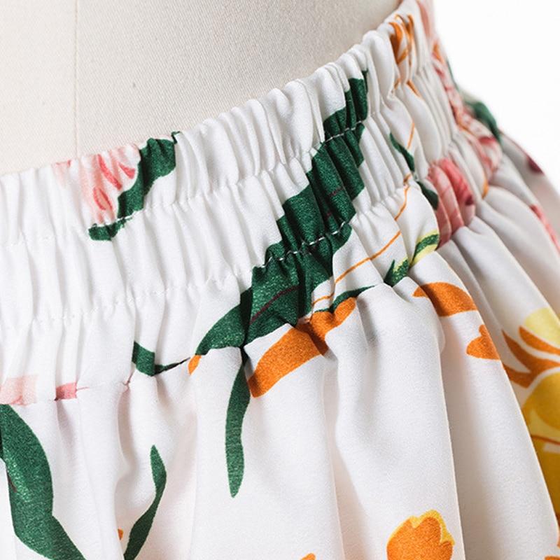 GOPLUS Boho Floral Print Chiffon Long Skirts Women High Waist A Line Maxi Skirt Lady 2019 Chic Vintage Party Beach Skirts Female