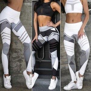 Image 3 - Mesh Pattern Print Leggings fitness Leggings For Women Sporting Workout Leggins Elastic Slim Black White Pants Trousers Fitness