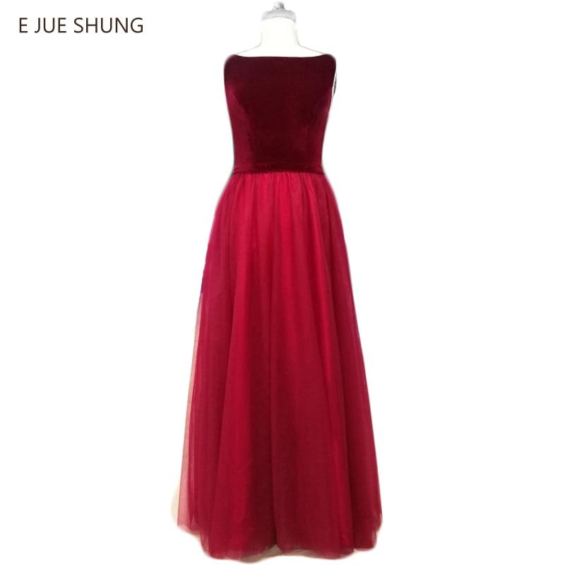 E JUE SHUNGブルゴーニュ安いイブニングドレスロング2017ラインの背中が大きく開いベルベットウエディングドレスのイブニングドレス