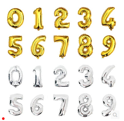 Lucia Craft Approx 42cm gold/silver multi numbers options birthday balloons decorated children inflatable toy 1pc/lot 059003015