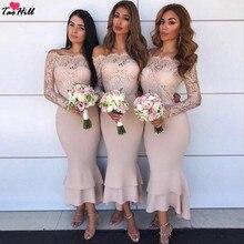TaoHill румяный розовый кружевной платье подружки невесты в стиле русалки Чай Длина с открытыми плечами одежда с длинным рукавом для официального торжества выпускного вечера платья