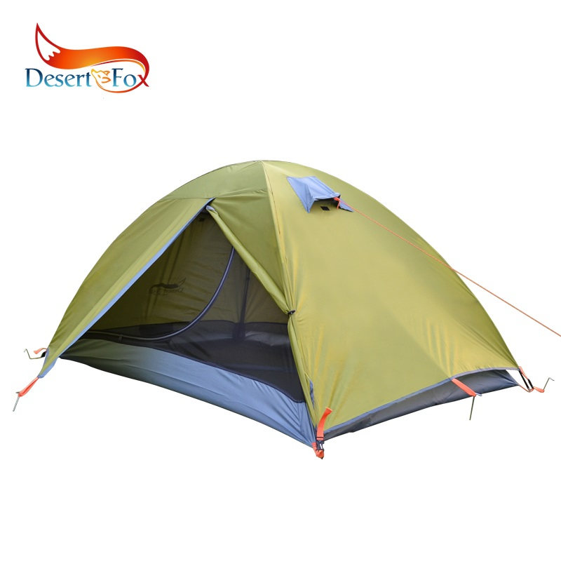 Desert Fox Backpacking Lightweight Camping Tent Double Layer Fiberglass 2 Person Waterproof Portable Travel Tent with