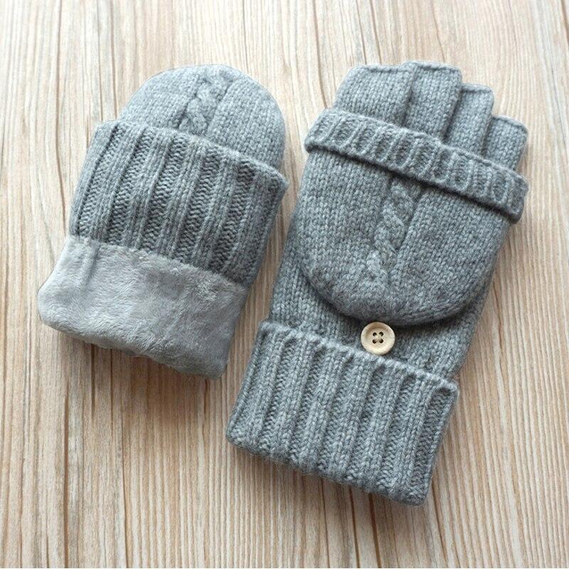 Hommes mitaines sans doigts homme hiver conduite mitaine laine tricotée Plus velours épaississement chaud Flip demi-doigt gants