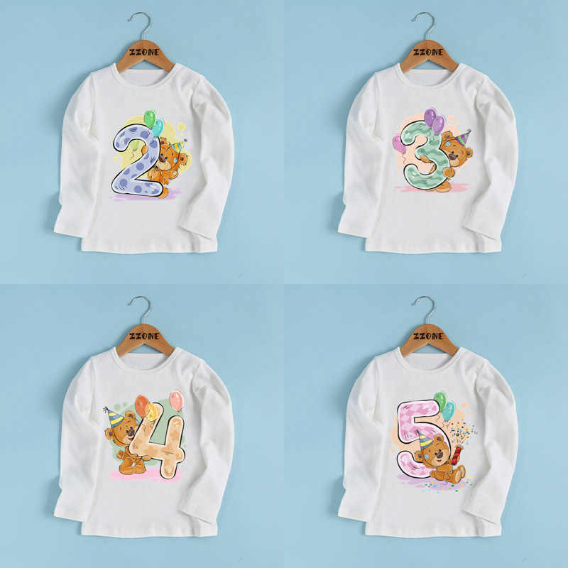 Boys/Girls Birthday Present Bear Number 1-9 Bow Print T shirt Baby Cartoon Winnie Funny T-shirt Kids Long Sleeve Clothes,LKP5237
