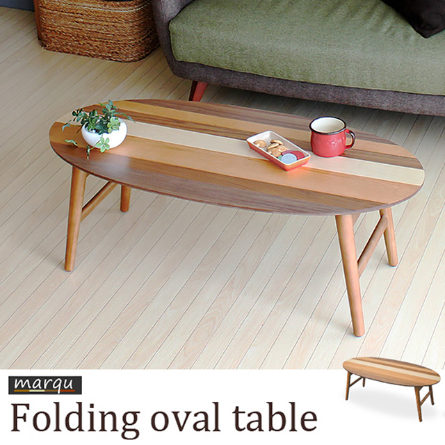 Anese Style Wood Simplicity Mixed Colors Oval Coffee Table Folding Small Apartment Living Room