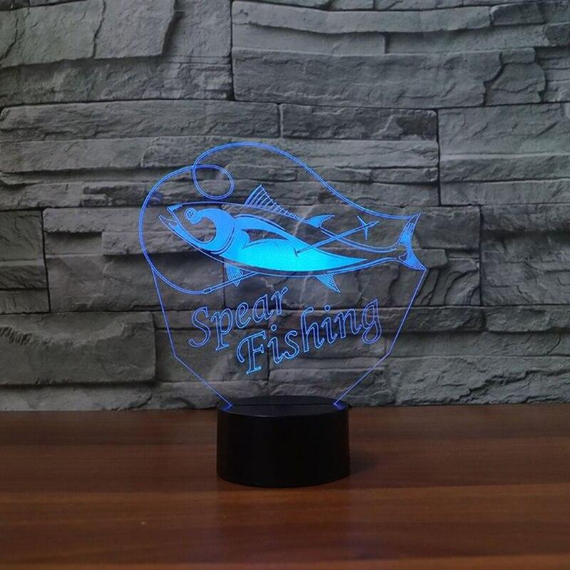 7 цветов Творческий 3D светодиодный Рождественские подарки охотников Спальня исследования настольная лампа рыбы ночник сна атмосфер светил...
