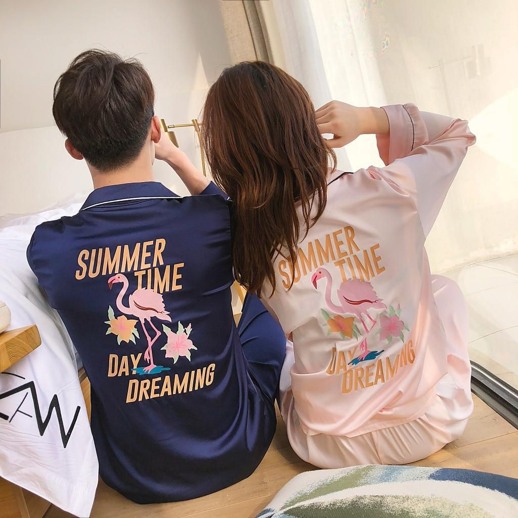 Spring Flamingo Cardigan Full Length Elastic Silk Couple   Pajamas     Set   Men Women Home Service   Pajama   Pyjamas Homewear Tracksuit