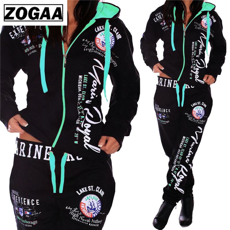 ZOGAA Fashion Tracksuit For Women Women's Casual Sportwear Hooded Sweatshirt And Pants Women's Suit Women Two Piece Outfits