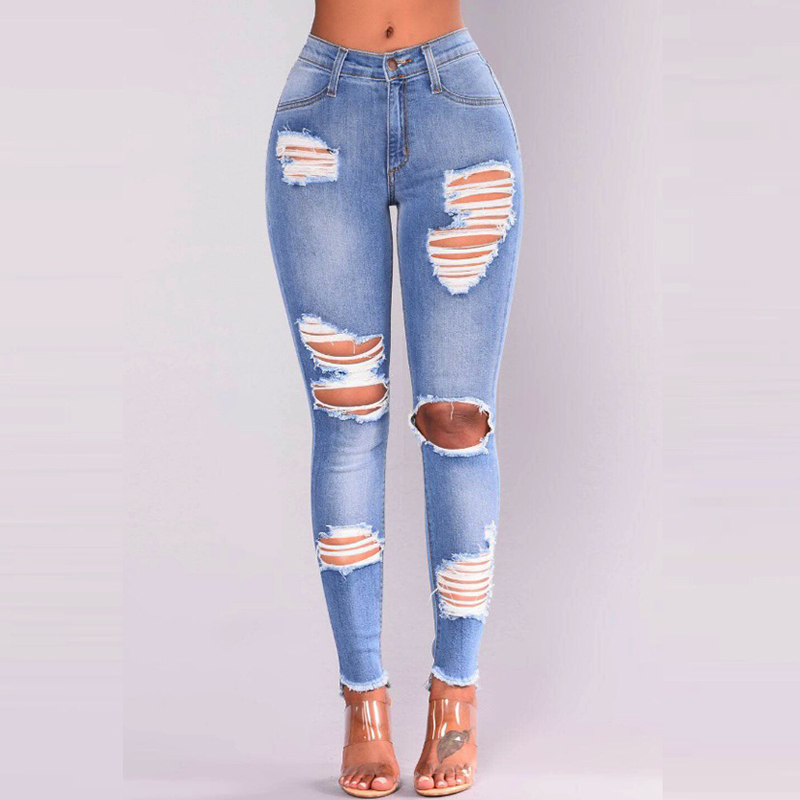 Long Casual Jeans Women High Waist Waisted Skinny Pencil Blue Denim Pants Ripped Hole Cropped Slim Fit Skinny Sexy Jeans Women