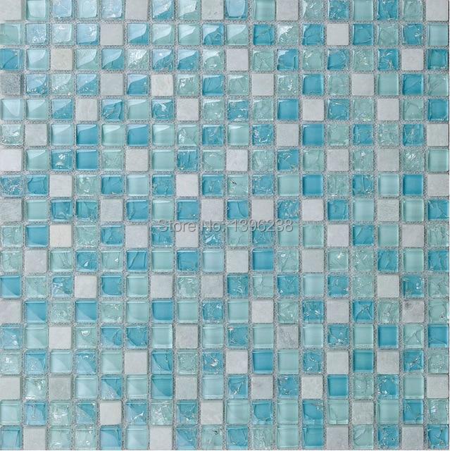 blauen pool fliesen eis knacken glas marmor mischung mosaik kche backsplash badezimmer dusche arbeitsplatte wohnkultur tapete - Arbeitsplatte Kuche Blau