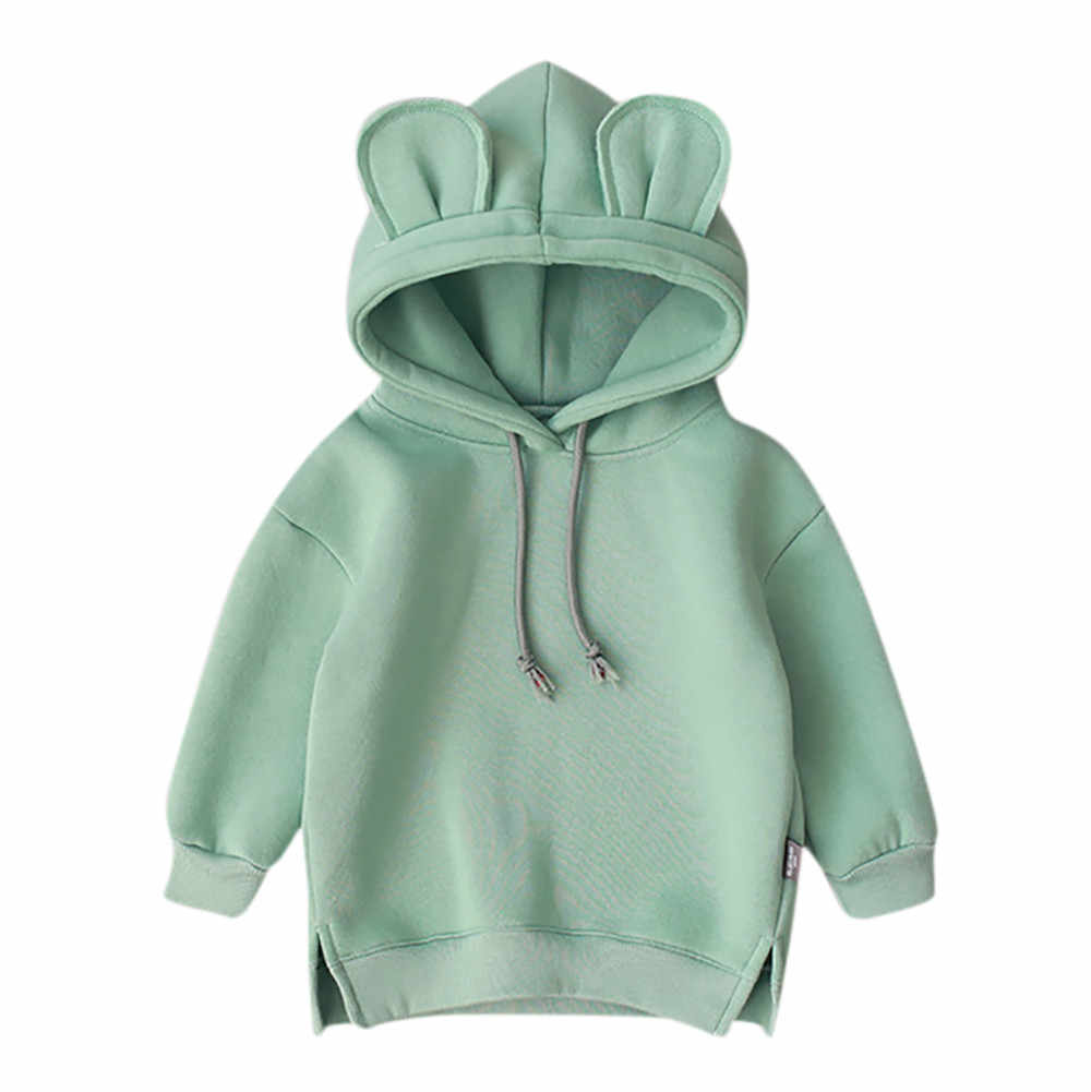 2019 baby fleece hooded solid color sweater Toddler Baby Kids Boy Girl Hooded Cartoon 3D Ear Hoodie Sweatshirt Tops Clothes