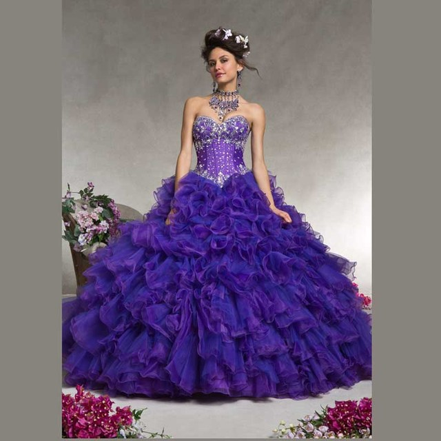 65ccee7f5ff Beautiful Dark Purple Sweetheart Ruffles Crystals and Beading Ball Gown  Quinceanera Dresses Lace up with Jacket 15 Years Girl