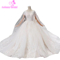 Amazing Bridal Dresses Muslim With Cape Wedding Dresses Embroidered Lace Beading Crystal Bridal Gowns High Quality Wedding Dress
