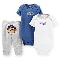 SSL3-012, Original, Just Arrived, Baby Boys 3-Piece Set, Short Sleeve Bodysuits+ Pants, Free Shipping