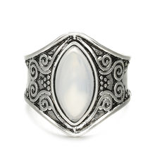 1Piece Fashion Bohemian Vintage anti Silver Plated White Large Imitation Opal Ring For Men Women Gift Jewelry(China)