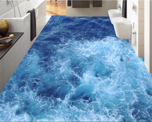 beibehang Advanced fashion beautiful big wallpaper blue sea wave self - adhesive waterproof 3d flooring painting papel de parede
