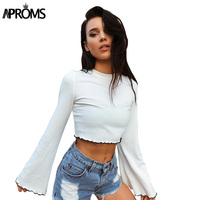 Aproms 90s Girls Flare Sleeve Crop Top Casual Frill White Basic T Shirt Women Long Sleeve