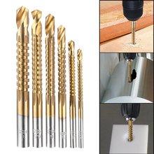 Высокое качество 6 шт. Зенковка сверло электроинструменты скорость из металла с титановым покрытием HSS сверла набор пилы для сверления металла