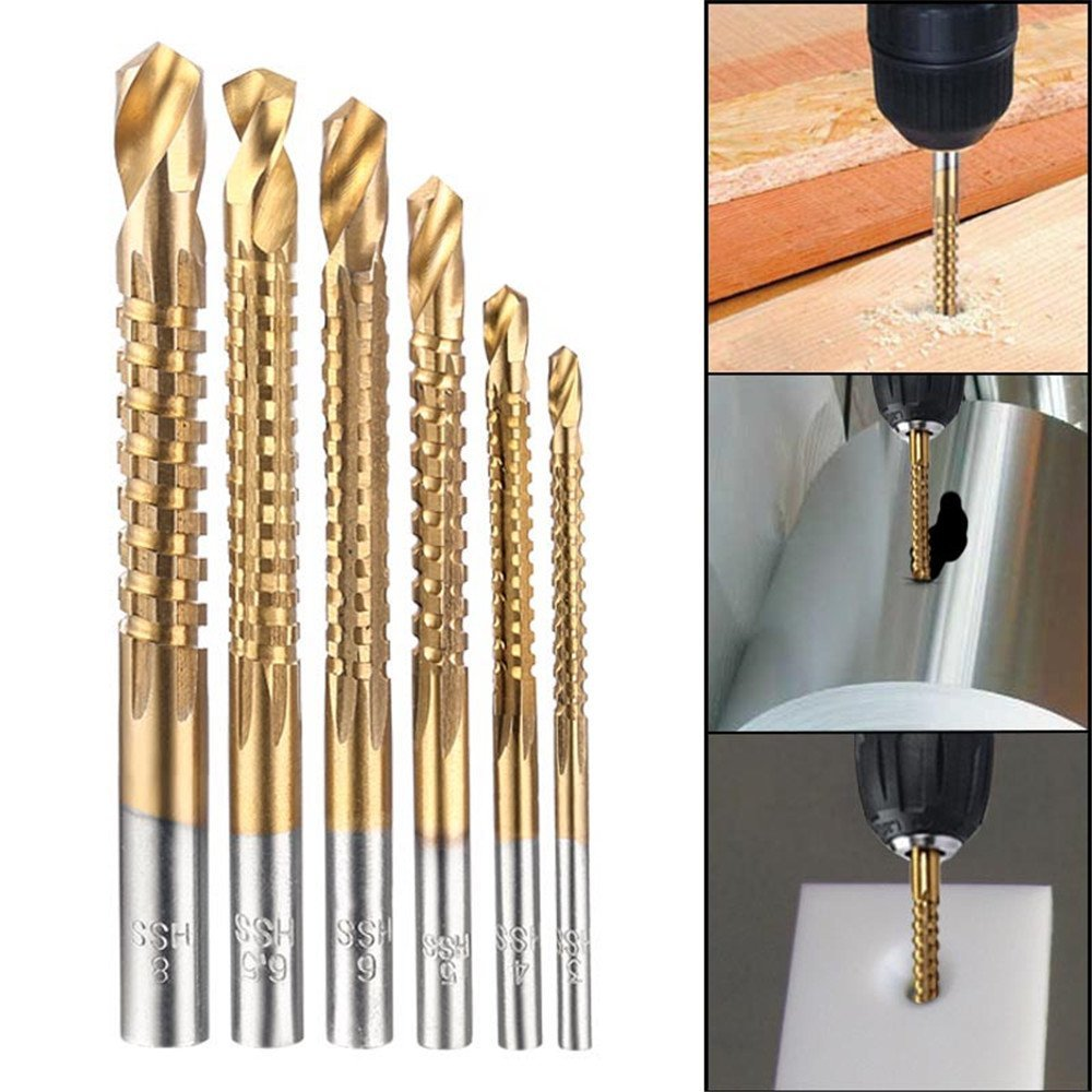 High Quality 6Pcs Countersink Drill Bit Power Tools Speed Out Metal Titanium Coated HSS Twist Drill Bits Set Saw Metal Drilling