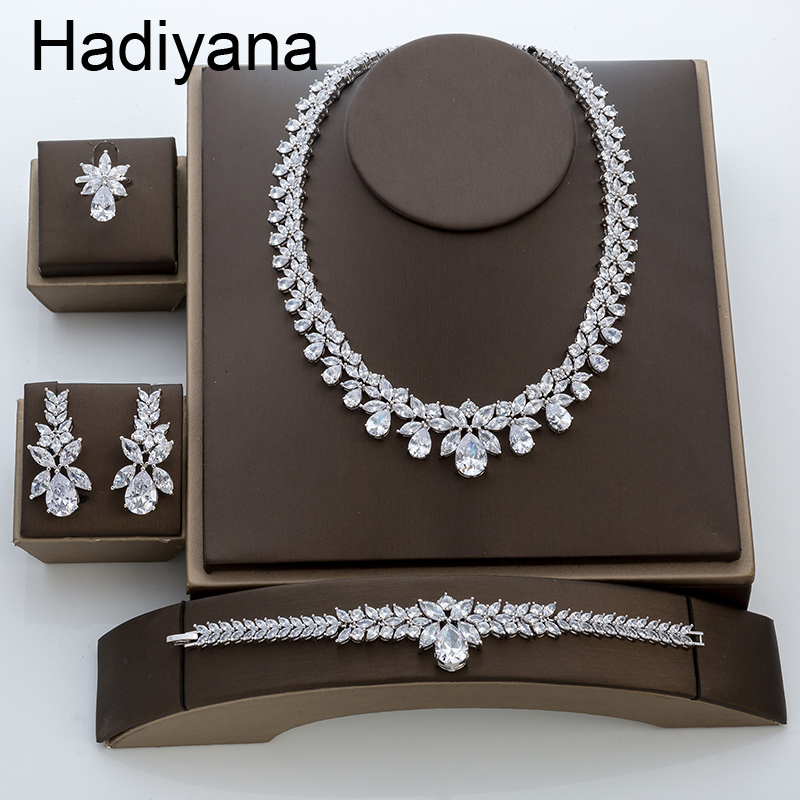 Hadiyana New Luxury Bridal Engagement Wedding Jewelry Set Shiny Water Drop Ladies Necklace Earring Bracelet Ring