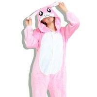 Hot Sale Unisex Adult Men Women One Piece Pajamas Halloween Animal Character Pink Rabbit Onesie Sleepwear
