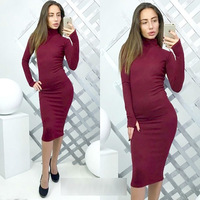 Women Winter Bodycon Velvet Dress Knee Length Turtleneck Long Sleeve Red Wrap Dress 2018 Women Sheath