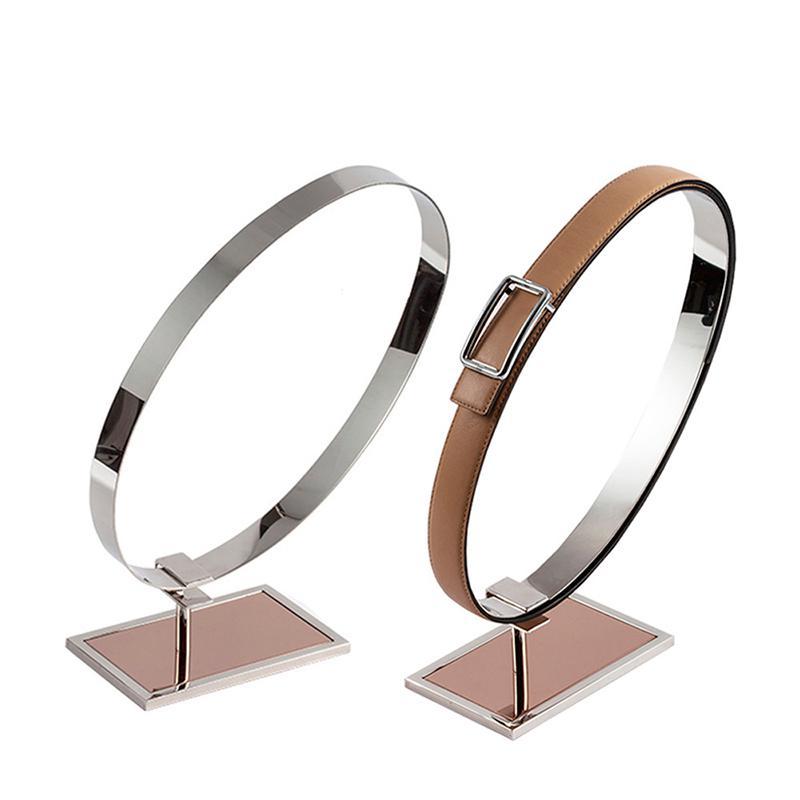 Miroir Top Grade ceinture présentoir en acier inoxydable simple Double anneaux fenêtre affichage accessoires armoire ceinture support de stockage support