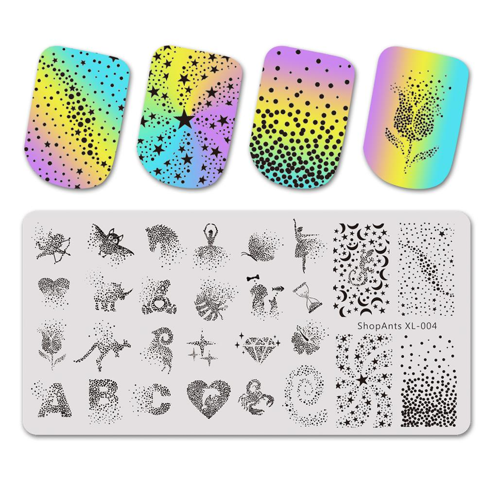 Stainless Steel Nail Stamping Plates Stencil ABC Dot Rose Heart Fantasy Starts Nail Art Stamping Plate Diamond Print Templates-in Nail Art Templates from Beauty & Health
