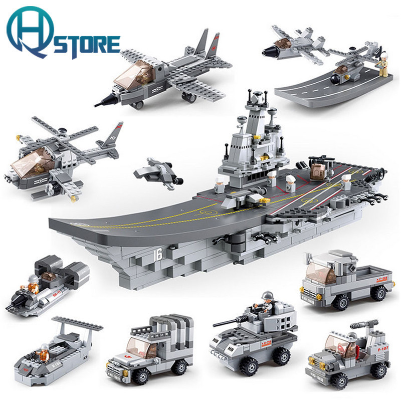 Aircraft Carrier Building Blocks Sluban B0537 Educational DIY Brick Thinking Toy for Children