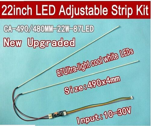 20pcs 22'' W 490mm Adjustable Brightness Led Backlight Strip Kit,update 22inch-wide Lcd Ccfl To Led Backlight At Any Cost