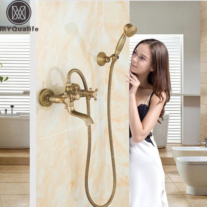 Antique Brass Dual Handles Bathtub Faucets Wall Mount Handheld Tub Shower Mixer Tap with Handshower and Bracket