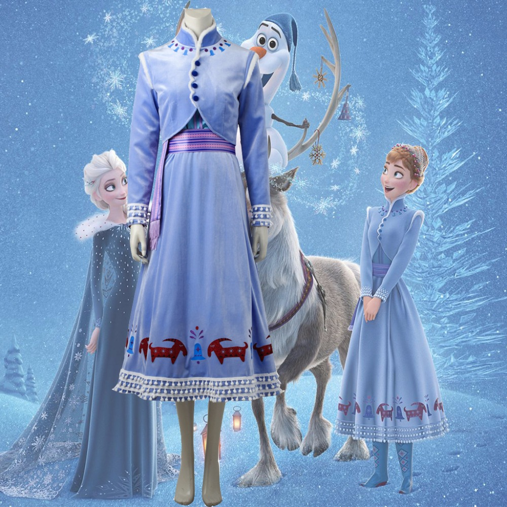 Cosplaydiy Olaf's Adventure Princess Anna Cosplay Costume Adult Halloween Carnival Christmas Suit Anna Winter Velet Top Dress