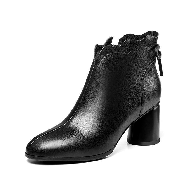 Nouveau Épais Mode Pour Cheville Bout Talons Femmes Asumer Boopts Noir marron Haute Cuir Bowknot Bottes En Simple Véritable Pointu 2018 4IxqOd