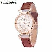 COMPADRE 패션 여성 소녀 석영 시계 크리스탈 다이얼 로마 숫자