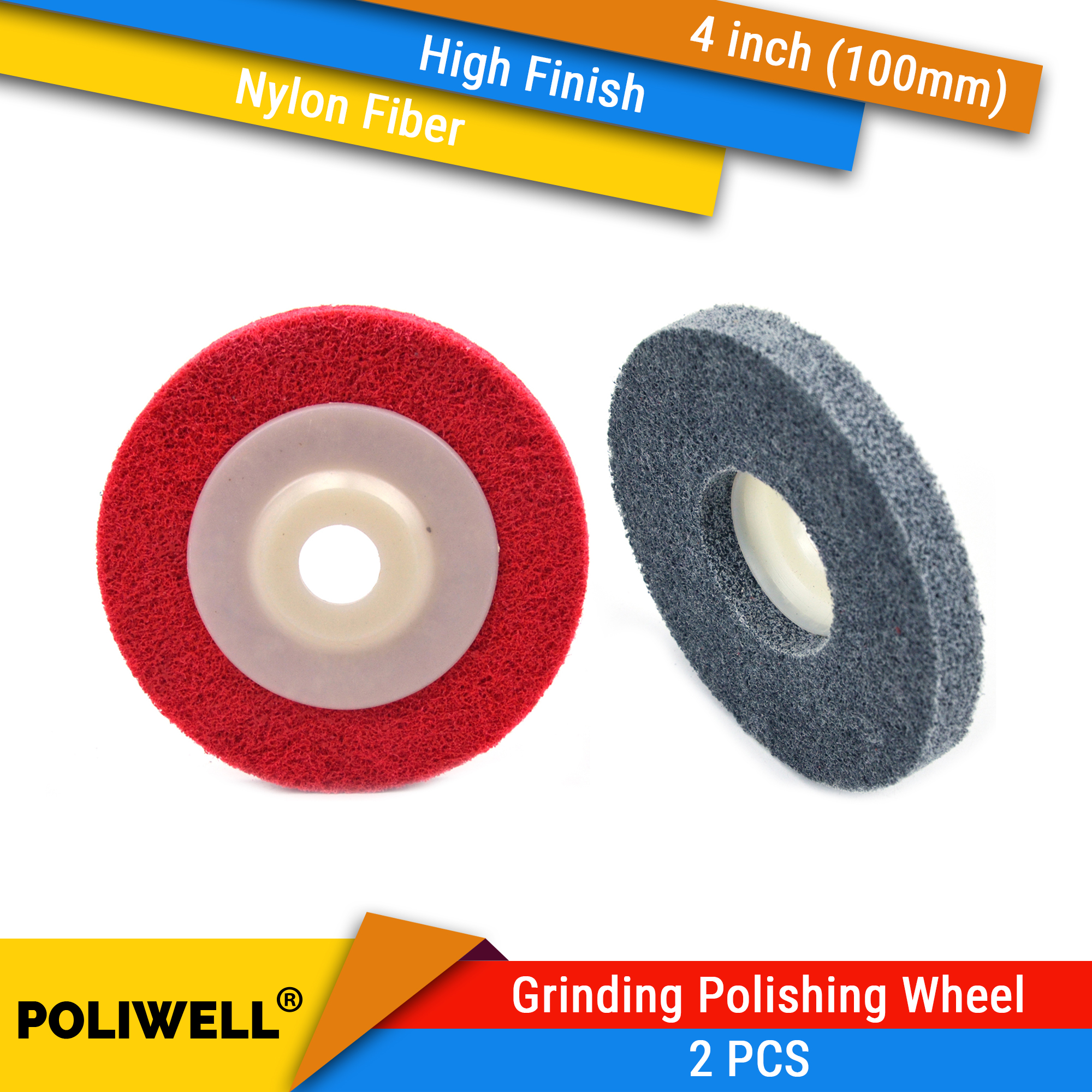 2 PCS 100mm Red And Grey Nylon Fiber Polishing Wheel Grinding Disc Abrasive Tools Materials Surface Decoration For Angle Grinder