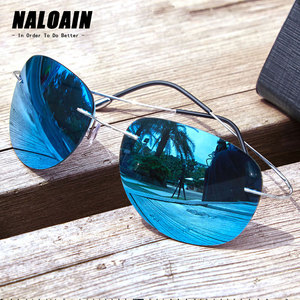 Image 1 - NALOAIN Sunglasses Polarized Mirrored UV400 Lens Titanium Frame Rimless Lightweight Sun Glasses For Men Women Driving Fishing