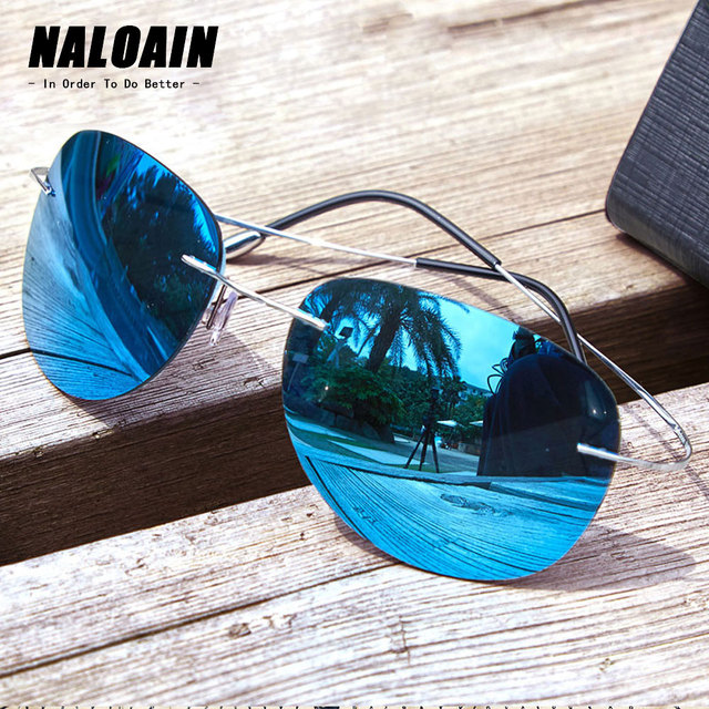 NALOAIN Sunglasses Polarized Mirrored UV400 Lens Titanium Frame Rimless Lightweight Sun Glasses For Men Women Driving Fishing
