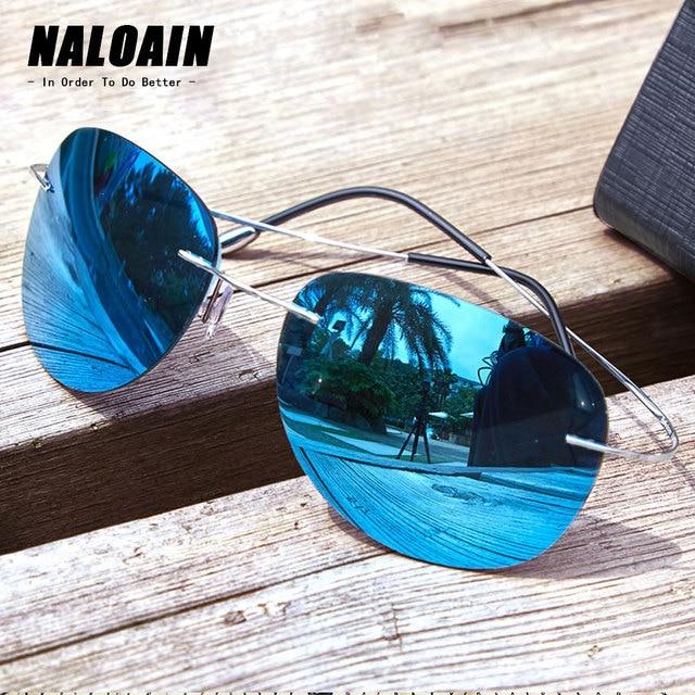 Naloain óculos de sol polarizado, óculos de sol espelhado e sem aro de titânio com lente uv400, espelhado, leve para homens e mulheres, para dirigir e pescar