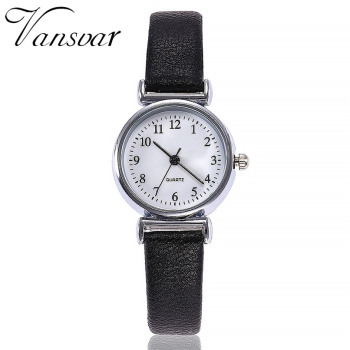 Small Dial Leather Band Analog Movement Wrist Watch