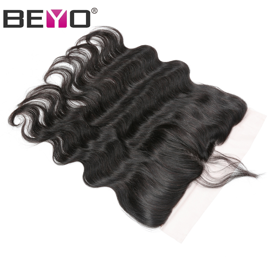 Beyo Hair Ear To Ear Lace Frontal With Baby Hair Pre Plucked Brazilian Body Wave Closure 13x4 Non-Remy Human Hair Free Shipping