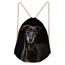 NOISYDESIGNS 3D Animal Dog Dark Grey Italian Greyhound Printed School Girls Drawstring Bag Women greyhound galgo supreme bag
