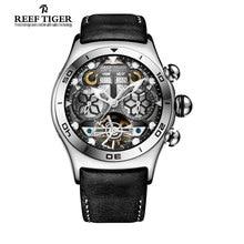 Reef Tiger Mens Sport Watches Big Skeleton Dial Luminous Tourbillon Watch Year Month Calendar Automatic Watch Relogio Masculino