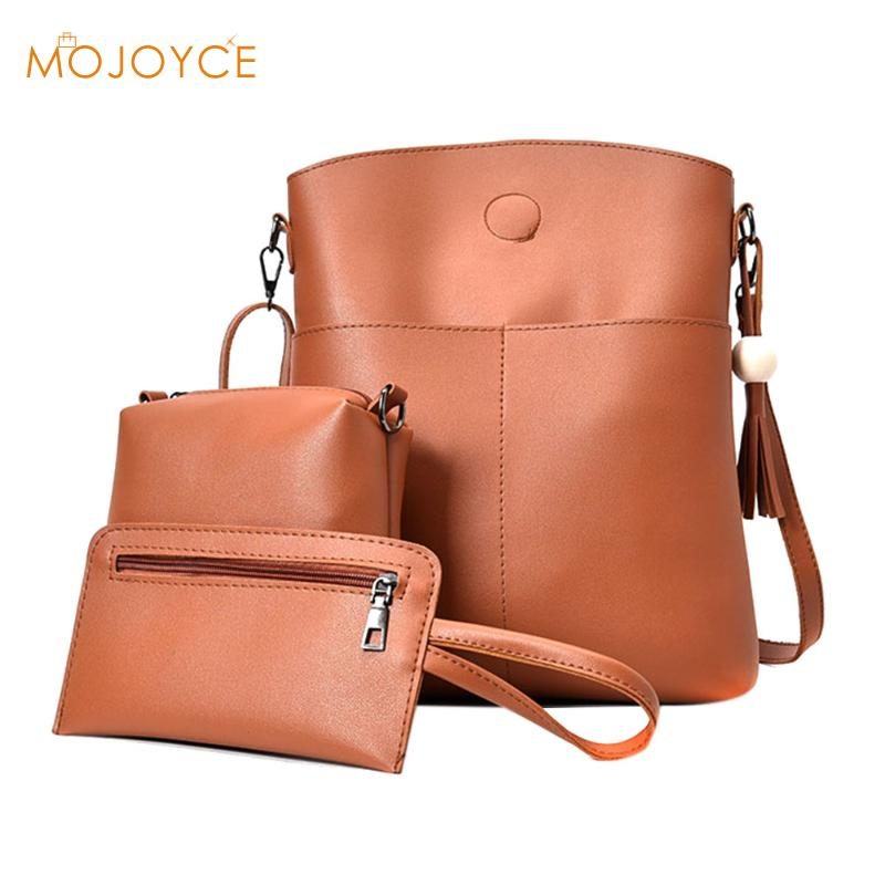 3pcs Women Simple PU Leather Shoulder Crossbody Bag Female Fashion Messenger Bag Handbag Card Purse Bag Set Bolsa 3Sets Mini Bag jooz brand luxury belts solid pu leather women handbag 3 pcs composite bags set female shoulder crossbody bag lady purse clutch