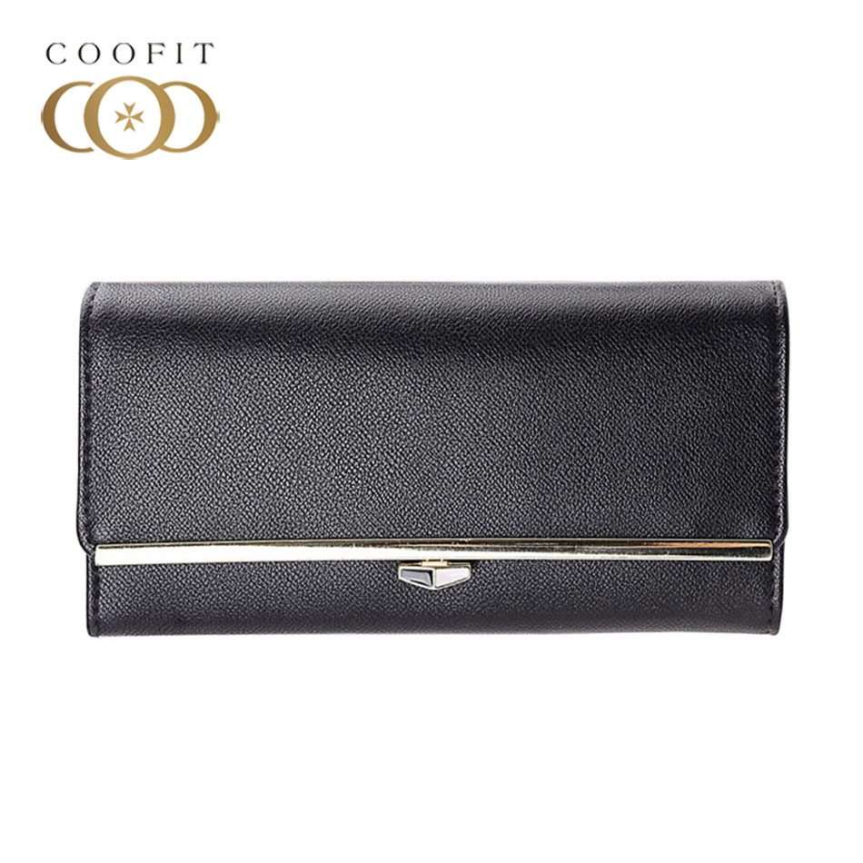 Coofit Womens Wallet Assorted Colors Minimalist Long Wallet Card Holder Purse Special Metal Strips Designer Trifold portomonee
