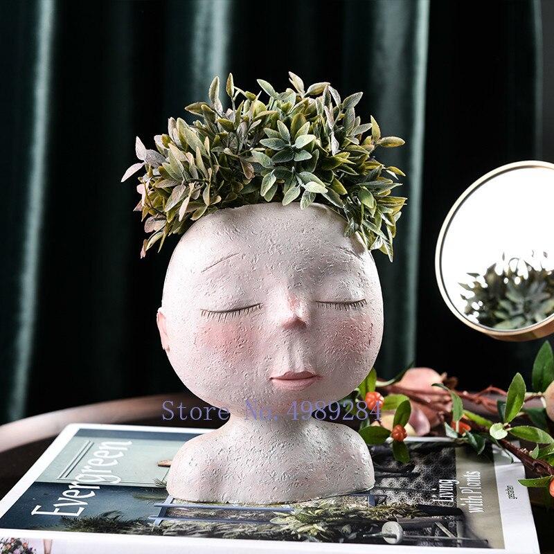 Nordic Creative Resin Human Head Vase Art Flower Arrangement Doll Sculpture Flower Pot Potted Plant Home Garden Decoration