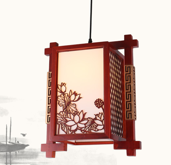 Chinese handmade carved lotus pattern wood art Pendant Lights White lampshade E27 LED lamp for corridor&stairs&pavilion MF033