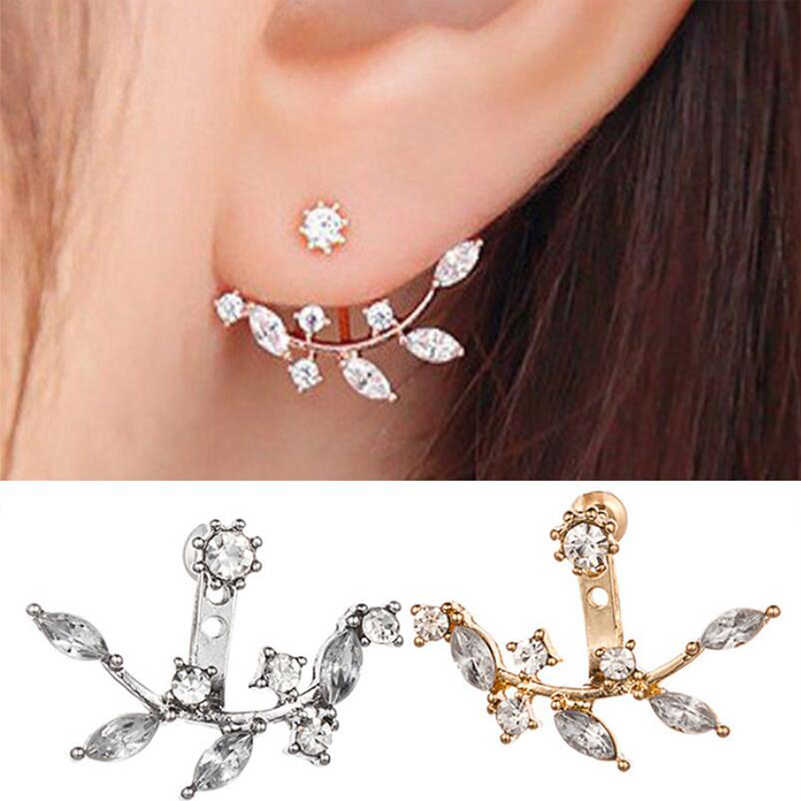 Shuangshuo Shiny Crystal Rhinestone Leaf Long Earring Jackets New Design Fashion Statement Jewelry for Women Gift Earing Brincos