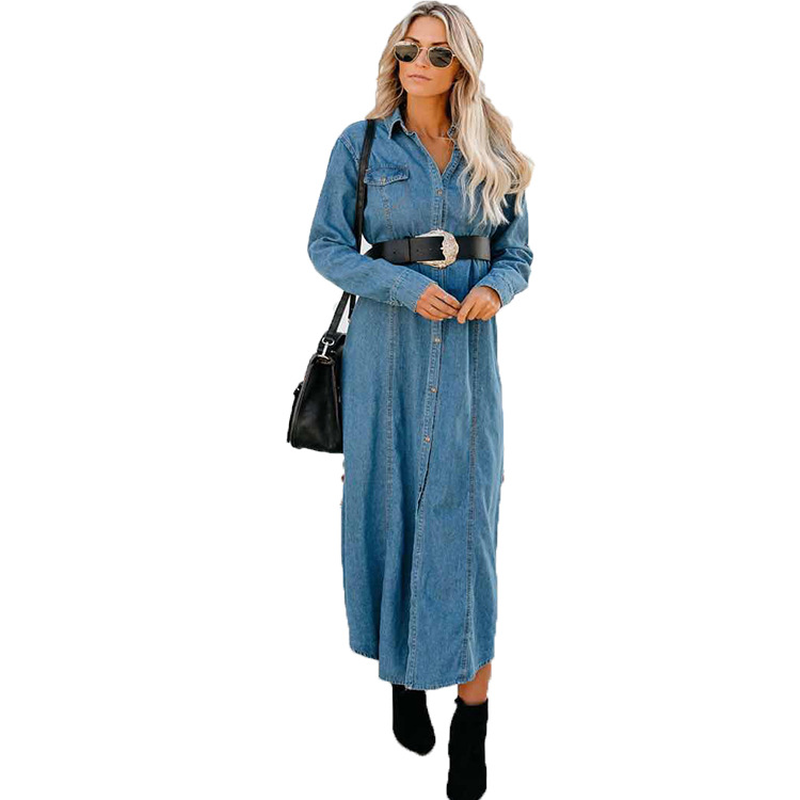 2019 Denim   Trench   Coat for Women Blue Slim Button Sashes   Trench   Coat Female Coats Spring Fashion Casual Streetwear Women's Coat